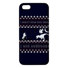 I Wasn t Good This Year, I Was Awesome! Ugly Holiday Christmas Blue Background Apple iPhone 5 Premium Hardshell Case