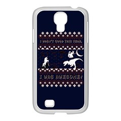 I Wasn t Good This Year, I Was Awesome! Ugly Holiday Christmas Blue Background Samsung Galaxy S4 I9500/ I9505 Case (white)