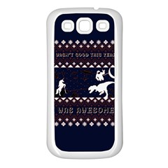 I Wasn t Good This Year, I Was Awesome! Ugly Holiday Christmas Blue Background Samsung Galaxy S3 Back Case (white)