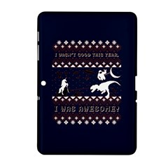 I Wasn t Good This Year, I Was Awesome! Ugly Holiday Christmas Blue Background Samsung Galaxy Tab 2 (10.1 ) P5100 Hardshell Case