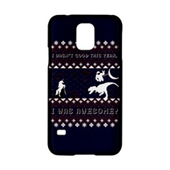 I Wasn t Good This Year, I Was Awesome! Ugly Holiday Christmas Blue Background Samsung Galaxy S5 Hardshell Case