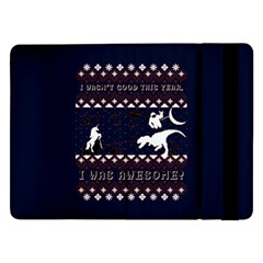 I Wasn t Good This Year, I Was Awesome! Ugly Holiday Christmas Blue Background Samsung Galaxy Tab Pro 12 2  Flip Case