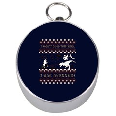 I Wasn t Good This Year, I Was Awesome! Ugly Holiday Christmas Blue Background Silver Compasses
