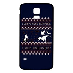I Wasn t Good This Year, I Was Awesome! Ugly Holiday Christmas Blue Background Samsung Galaxy S5 Back Case (white)