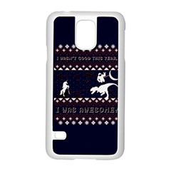 I Wasn t Good This Year, I Was Awesome! Ugly Holiday Christmas Blue Background Samsung Galaxy S5 Case (white)