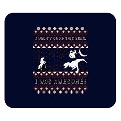 I Wasn t Good This Year, I Was Awesome! Ugly Holiday Christmas Blue Background Double Sided Flano Blanket (small)
