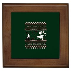 I Wasn t Good This Year, I Was Awesome! Ugly Holiday Christmas Green Background Framed Tiles