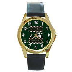 I Wasn t Good This Year, I Was Awesome! Ugly Holiday Christmas Green Background Round Gold Metal Watch