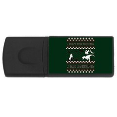 I Wasn t Good This Year, I Was Awesome! Ugly Holiday Christmas Green Background USB Flash Drive Rectangular (2 GB)