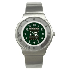 I Wasn t Good This Year, I Was Awesome! Ugly Holiday Christmas Green Background Stainless Steel Watch