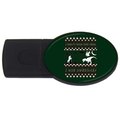 I Wasn t Good This Year, I Was Awesome! Ugly Holiday Christmas Green Background USB Flash Drive Oval (4 GB)