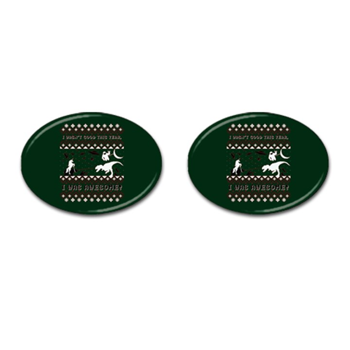 I Wasn t Good This Year, I Was Awesome! Ugly Holiday Christmas Green Background Cufflinks (Oval)