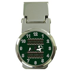I Wasn t Good This Year, I Was Awesome! Ugly Holiday Christmas Green Background Money Clip Watches