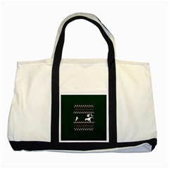 I Wasn t Good This Year, I Was Awesome! Ugly Holiday Christmas Green Background Two Tone Tote Bag