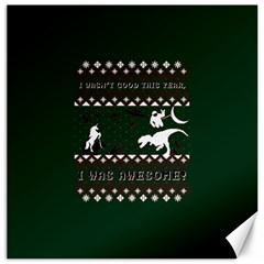 I Wasn t Good This Year, I Was Awesome! Ugly Holiday Christmas Green Background Canvas 20  x 20