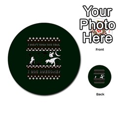 I Wasn t Good This Year, I Was Awesome! Ugly Holiday Christmas Green Background Multi Purpose Cards (round)