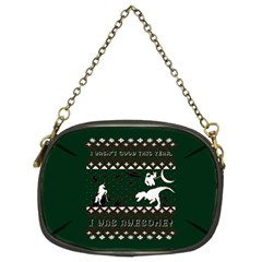 I Wasn t Good This Year, I Was Awesome! Ugly Holiday Christmas Green Background Chain Purses (Two Sides)