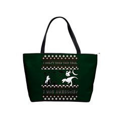 I Wasn t Good This Year, I Was Awesome! Ugly Holiday Christmas Green Background Shoulder Handbags