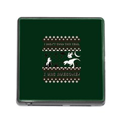 I Wasn t Good This Year, I Was Awesome! Ugly Holiday Christmas Green Background Memory Card Reader (square)