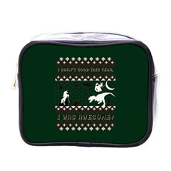 I Wasn t Good This Year, I Was Awesome! Ugly Holiday Christmas Green Background Mini Toiletries Bags