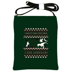 I Wasn t Good This Year, I Was Awesome! Ugly Holiday Christmas Green Background Shoulder Sling Bags