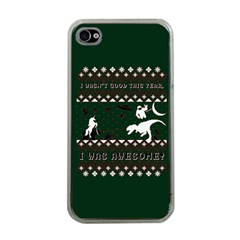 I Wasn t Good This Year, I Was Awesome! Ugly Holiday Christmas Green Background Apple iPhone 4 Case (Clear)