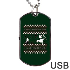 I Wasn t Good This Year, I Was Awesome! Ugly Holiday Christmas Green Background Dog Tag USB Flash (One Side)