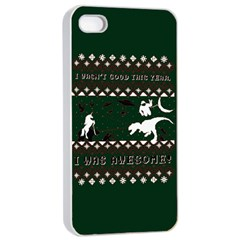 I Wasn t Good This Year, I Was Awesome! Ugly Holiday Christmas Green Background Apple iPhone 4/4s Seamless Case (White)