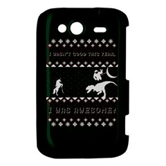 I Wasn t Good This Year, I Was Awesome! Ugly Holiday Christmas Green Background HTC Wildfire S A510e Hardshell Case