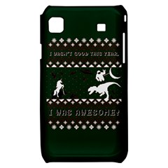 I Wasn t Good This Year, I Was Awesome! Ugly Holiday Christmas Green Background Samsung Galaxy S i9000 Hardshell Case