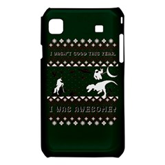 I Wasn t Good This Year, I Was Awesome! Ugly Holiday Christmas Green Background Samsung Galaxy S i9008 Hardshell Case