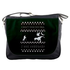 I Wasn t Good This Year, I Was Awesome! Ugly Holiday Christmas Green Background Messenger Bags
