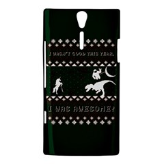 I Wasn t Good This Year, I Was Awesome! Ugly Holiday Christmas Green Background Sony Xperia S
