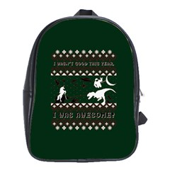 I Wasn t Good This Year, I Was Awesome! Ugly Holiday Christmas Green Background School Bags (xl)