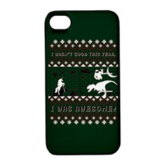I Wasn t Good This Year, I Was Awesome! Ugly Holiday Christmas Green Background Apple Iphone 4/4s Hardshell Case With Stand
