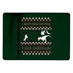 I Wasn t Good This Year, I Was Awesome! Ugly Holiday Christmas Green Background Samsung Galaxy Tab 10 1  P7500 Flip Case