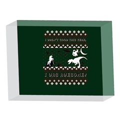 I Wasn t Good This Year, I Was Awesome! Ugly Holiday Christmas Green Background 5 x 7  Acrylic Photo Blocks