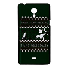 I Wasn t Good This Year, I Was Awesome! Ugly Holiday Christmas Green Background Sony Xperia T