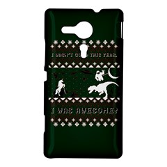 I Wasn t Good This Year, I Was Awesome! Ugly Holiday Christmas Green Background Sony Xperia SP