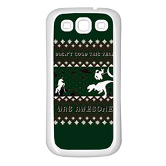 I Wasn t Good This Year, I Was Awesome! Ugly Holiday Christmas Green Background Samsung Galaxy S3 Back Case (white)
