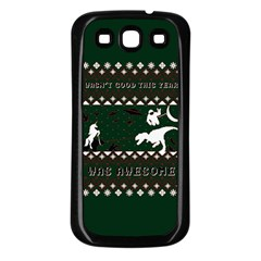 I Wasn t Good This Year, I Was Awesome! Ugly Holiday Christmas Green Background Samsung Galaxy S3 Back Case (black)