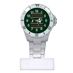 I Wasn t Good This Year, I Was Awesome! Ugly Holiday Christmas Green Background Plastic Nurses Watch