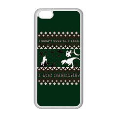 I Wasn t Good This Year, I Was Awesome! Ugly Holiday Christmas Green Background Apple iPhone 5C Seamless Case (White)