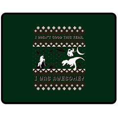 I Wasn t Good This Year, I Was Awesome! Ugly Holiday Christmas Green Background Double Sided Fleece Blanket (Medium)