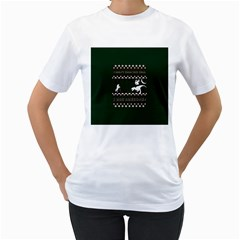 I Wasn t Good This Year, I Was Awesome! Ugly Holiday Christmas Green Background Women s T-Shirt (White)