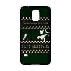 I Wasn t Good This Year, I Was Awesome! Ugly Holiday Christmas Green Background Samsung Galaxy S5 Hardshell Case