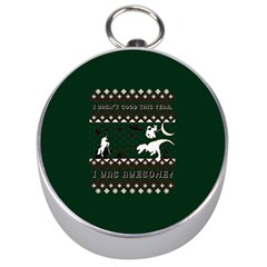 I Wasn t Good This Year, I Was Awesome! Ugly Holiday Christmas Green Background Silver Compasses