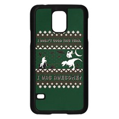 I Wasn t Good This Year, I Was Awesome! Ugly Holiday Christmas Green Background Samsung Galaxy S5 Case (black)