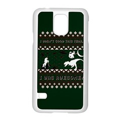 I Wasn t Good This Year, I Was Awesome! Ugly Holiday Christmas Green Background Samsung Galaxy S5 Case (white)