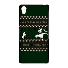 I Wasn t Good This Year, I Was Awesome! Ugly Holiday Christmas Green Background Sony Xperia Z2